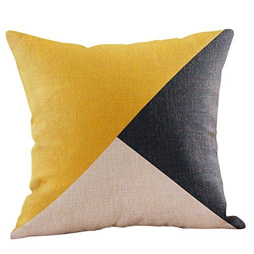 "iLUGU Mustard Yellow Geometric Fall Autumn Cushion Decorative Multi Color Linen Material Pillowcase 18"" 18"""