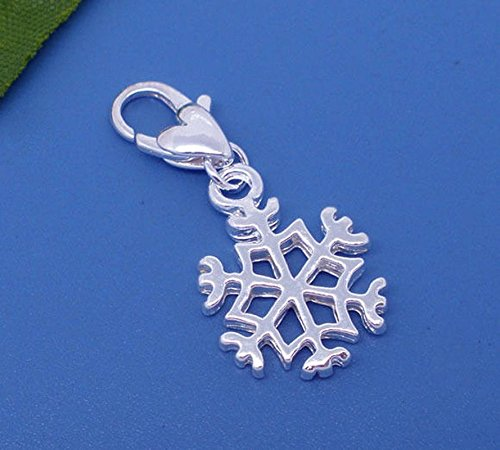Lot of 2 Pc Plated Clip On Snowflake Charms 32x14mm LC2551 Vintage Crafting Pendant Jewelry Making Supplies - DIY for Necklace Bracelet Accessories by CharmingSS ()