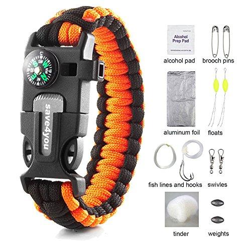 Bracelet Hook Buckle (Save4you Paracord Bracelet Embedded Compass Fire Starter Emergency Knife Whistle W 16-Piece Survival Kit Includes Fishing Gear (orange&black))
