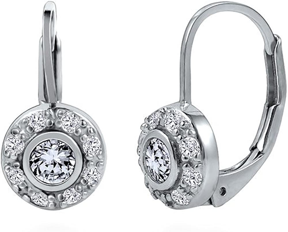 BERRICLE Sterling Silver CZ Halo Leverback Anniversary Wedding Earrings
