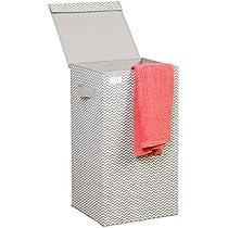 mDesign Cubo de ropa para lavado gris claro - Cesto plegable para colada - Cesta para ropa sucia con tapa - Ideal como bolsa para guardar ropa durante ...