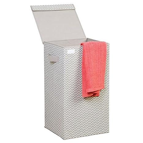 mDesign Cubo de ropa para lavado gris claro - Cesto plegable para colada - Cesta para