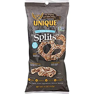 Unique Pretzels - Extra Salt Splits Pretzels, Delicious Vegan Snack Pretzels, Large OU Kosher Pretzels, 11 Ounce Bag