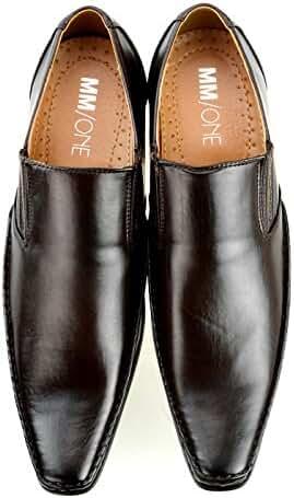 MM/ONE Mens dress mens shoes MonkStrap Slip on Oxford Leather Feel Enamel Plain toe Lace up Cap toe shoes