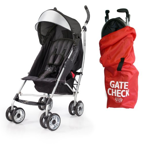 Summer Infant 3D Lite Convenience Stroller with Airport Gate Check Travel Bag, Black