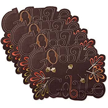 DII Polyester Placemat, Set of 4, Embroidered Gobble Gobble - Perfect for Fall, Thanksgiving, Friendsgiving and Dinner Parties