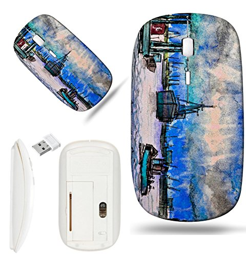 Watercolor Harbor - Luxlady Wireless Mouse White Base Travel 2.4G Wireless Mice with USB Receiver, 1000 DPI for notebook, pc, laptop, macdesign IMAGE ID: 39180949 Harbor Watercolor art illustration