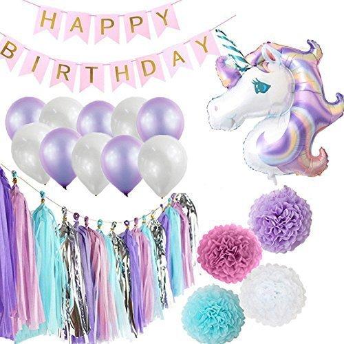 Happy Birthday Rainbow Magical Unicorn Theme Decorations Banner Balloon Tassel Pom Set (36 Piece) Unicorn Birthday Party Supplies for Girls - Decoracion De Unicornio para Cumpleaños Fiesta
