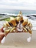 Easter Sale Gold Crystal Mermaid Crown by Star Stuff Boutique Mermaid Headress, Gold Headdress, High Energy Mermraid Headpiece, Seashell Tiara