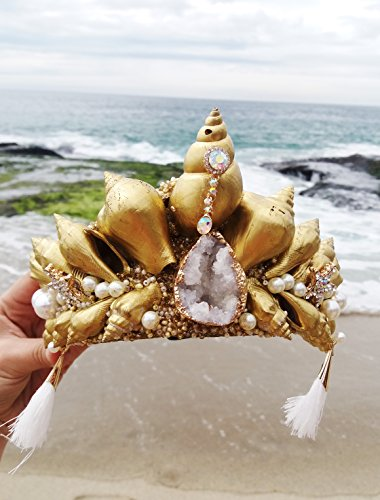 Easter Sale Gold Crystal Mermaid Crown by Star Stuff Boutique Mermaid Headress, Gold Headdress, High Energy Mermraid Headpiece, Seashell Tiara by Star Stuff Boutique