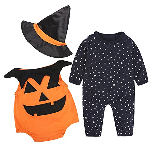 YQWEL 3Pcs/ Outfit Set Baby Boy Girl Infant Halloween pumpkin Costumes Set (0-3 Months) -