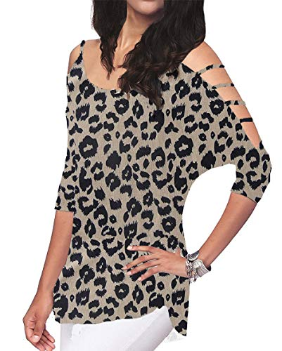 Women's Loose Hollowed Out Shoulder Floral Print Blouse Tops (Leopard, S)