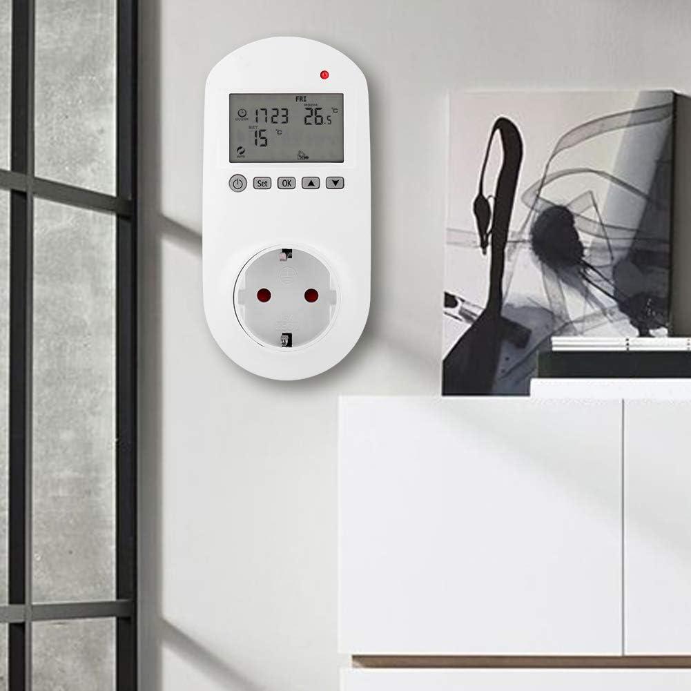 thermostats domestiques contr/ôleur de temp/érature du thermostat de chauffage num/érique HY02TPR Thermostat de chauffage de prise sans fil EU Plug200-240V
