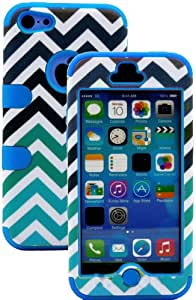 """myLife Sky Blue + Colorful Chevron Print 3 Layer (Hybrid Flex Gel) Grip Case for New Apple iPhone 5C Touch Phone (External 2 Piece Full Body Defender Armor Rubberized Shell + Internal Gel Fit Silicone Flex Protector) """"Attention: This case comes grip easy smooth silicone that slides in to your pocket easily yet won't slip out of your hand"""""""