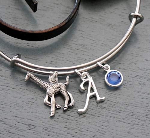 Giraffe Bracelet - Personalized Giraffe Bangle - Initial Bracelet - Birthstone Bracelet - Giraffe Gifts -