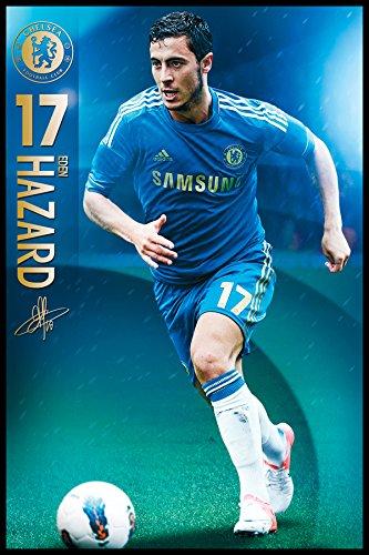 England Chelsea Eden Hazard (2012-2013 Season) English Football Soccer Sports Fan Framed Poster Print 24x36