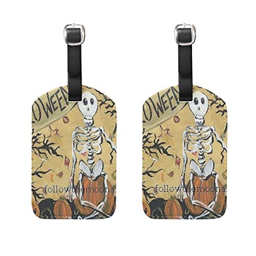 Happy Halloween Tags Printables (Luggage Tags Happy Halloween Sitting Owl Pumpkins Womens Bag Suitcase Tags Holder traveling)