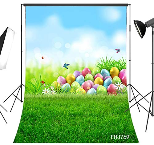 LB Spring Easter Backdrop for Photography 6x9ft Fabric Green Grass and Colorful Eggs Background Customized Children Kids Adult Portraits Photo Backdrop Studio Props,Washable