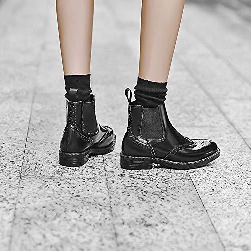 JUNKAI JUNKAI JUNKAI Damen Winterstiefel, Chelsea-Stiefel, rund, dick, elastisch, Kurze Stiefel Thirty-Nine - 436fc1