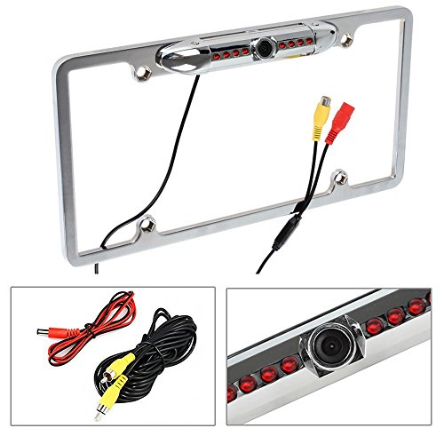 Cache Night Vision 170 Viewing Angle Universal Car License Plate Frame Mount Rear View Camera, 8 IR LED - Silver