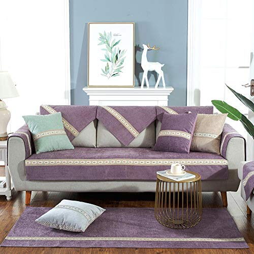 Deep Dream Sofa Slipcover,Chenille Premium Couch Cover,Loveseat,Recliner,Chair Covers - Furniture Protector,Machine Washable,Anti-Slip Covers for Pets, Kids (1pc/35''x47''/Rectangular, Purple) ()