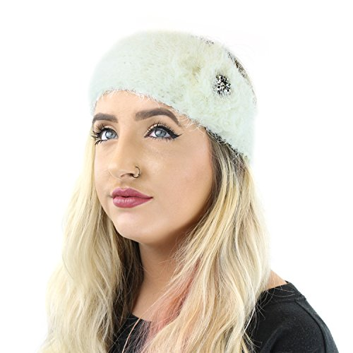 White Vintage Eye Lash Fun Fur Headband with Rosette Flower, Soft Ear Warmer