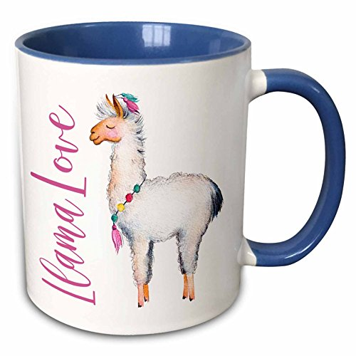 - 3dRose 254946_6 Cute Watercolor Words Llama Love Mug, 11 oz