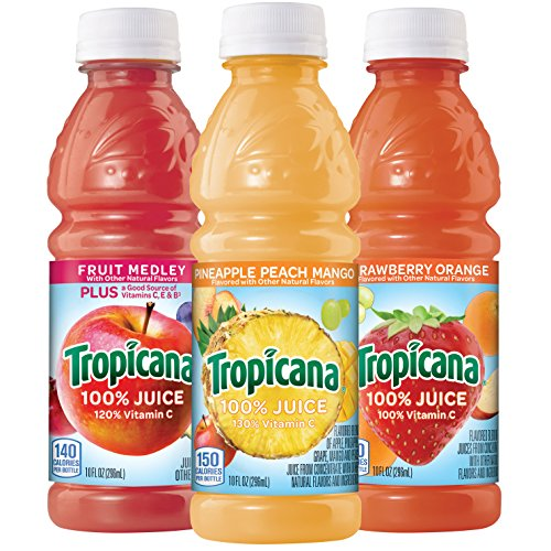 Tropicana 100% Juice 3-Flavor Fruit Blend Variety Pack, 10 Ounce Bottles, 24 Count