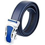 moonsix Dress Belts for Men,Business Ratchet Genuine Leather Belt with Automatic Buckle,Style 1 Blue