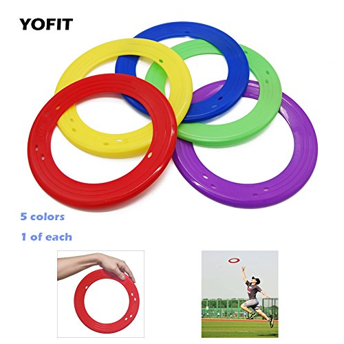 YOFIT 10 Inch Flying Ring with Assorted Colors, Set of 5]()