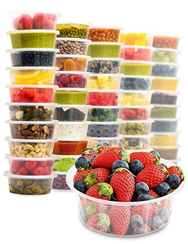 40 Food Containers with Easy Open, Leakproof Lids - 8oz Deli Cups | Microwave & Freezer Safe | Plastic Meal Storage by Prep Naturals price tips cheap