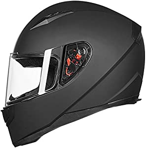 ILM Full Face Motorcycle Street Bike Helmet with Removable Winter Neck Scarf + 2 Visors DOT (XL, Matte Black) from ILM