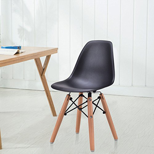 Cheap  Caraya Black Kids Dining Side Armless Chair Molded Plastic Seat Wood Dowel..