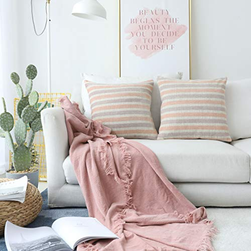 Kevin Textile Spring Throw Pillow Case Decoration Linen 2 Tone Chenille Jacquard Striped Couch Cushion Cover Living Room/Sofa, 45x45cm(18x18 inches), Blooming Dahlia Pink