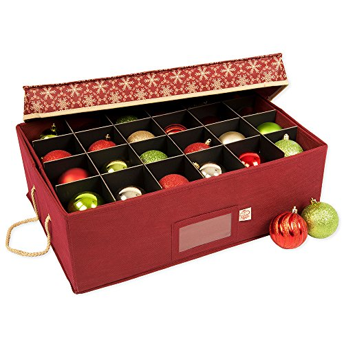 [Christmas Ornament Storage Box with Dividers] - (Holds 48 Ornaments up to 3 Inches in Diameter) | Acid-Free Removable Trays with Separators | 2 Removable Trays - (Classic Snowflake)