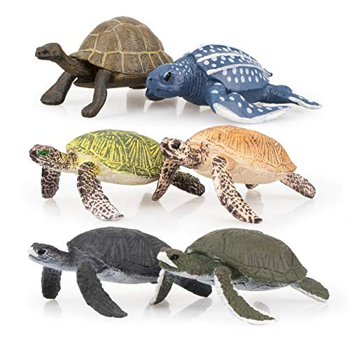 (TOYMANY 6PCS Realistic Sea Turtle Figurines, Plastic Ocean Sea Animals Figures Set Includes of Turtles, Educational Toy Cake Toppers Christmas Birthday Gift for Kids Toddlers)