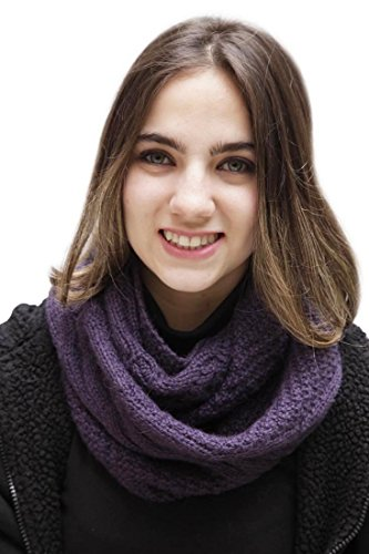 Superfine Natural Alpaca Wool Cable Hand Knitted Infinity Scarf (Purple)