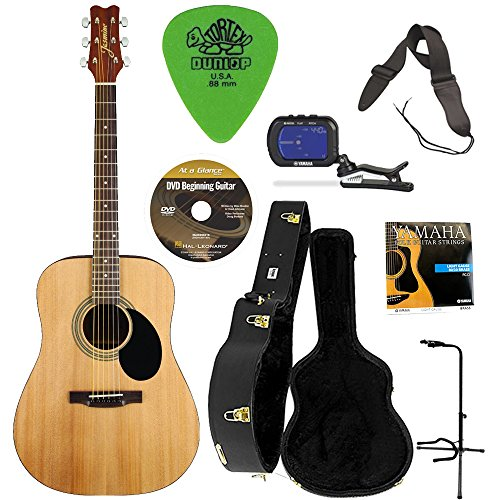 Jasmine S35 Acoustic Guitar (Natural) w/Knox Hardshell Guitar Case, Stand, Strap, DVD, Tuner, Strings and Picks