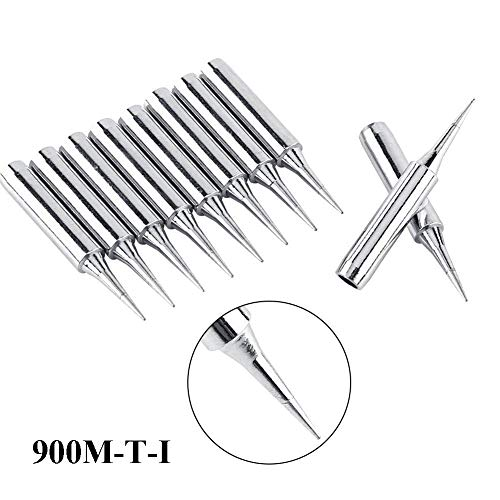 (HiLetgo 10pcs 900M-T-I Copper Base Lead-free Electroplated Iron and Nickel Replaceable Solder Iron Tips Low temperature Soldering Station for 900M 933 907 936 )