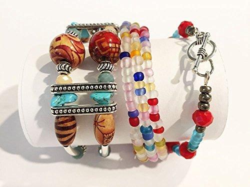 (Creative Oasis Handmade Beaded Cherokee Bracelet Set with BOHO Cuff, Bangle & Memory Wire)
