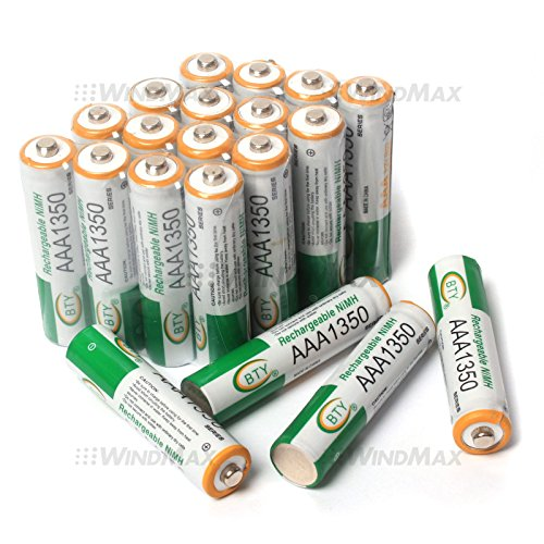 WindMax® US SELLER 20 PCS BTY 1350mAh 1.2V AAA Size Ni-MH Rechargeable Battery Batteries for Toys Wireless Phone Remote Control Digital Cameras PDAs Portable Players