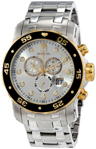 Invicta Mens Pro Diver Scuba Swiss Chronograph Silver Dial Stainless Steel Bracelet Watch 80040