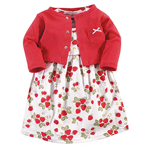 Hudson Baby Girl Cotton Cardigan and Dress, Strawberries 2 Piece Set, 2 Toddler (2T)