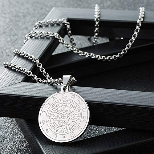 (5pcs european american jewelry stainless steel witchcraft magic medallion pendant necklace laser tag manufacturers (tag with pearl chain)