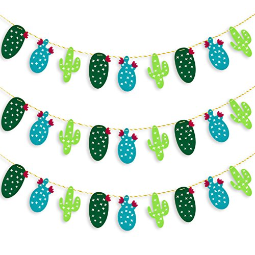 Coopay 3 Pack Cactus Banner Decoration Summer Theme Non-woven Fabric Garland Banner for Luau Hawaii Birthday Party Festival Decoration