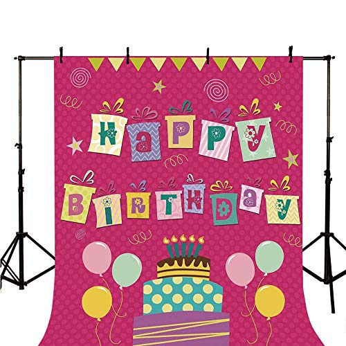 Birthday Decorations for Kids Stylish Backdrop,Light Pink Polka Dots Backdrop Happy Birthday Boxes Image for Photography,118