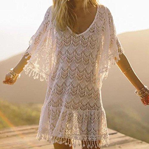 Mujer Blusa de bikini de punto Falda de playa Cuello V Blusa de encaje Camisas de ASHOP: Amazon.es: Ropa y accesorios
