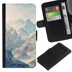 LASTONE PHONE CASE / Lujo Billetera de Cuero Caso del tirón Titular de la tarjeta Flip Carcasa Funda para Samsung Galaxy S3 III I9300 / Mountains Snow Winter Clouds White