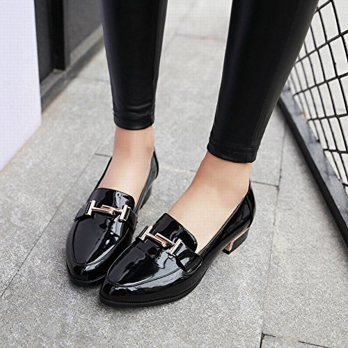 Shoes Show Womens Loafers Low Shine Casual Slide Heel Black 0r0qnv