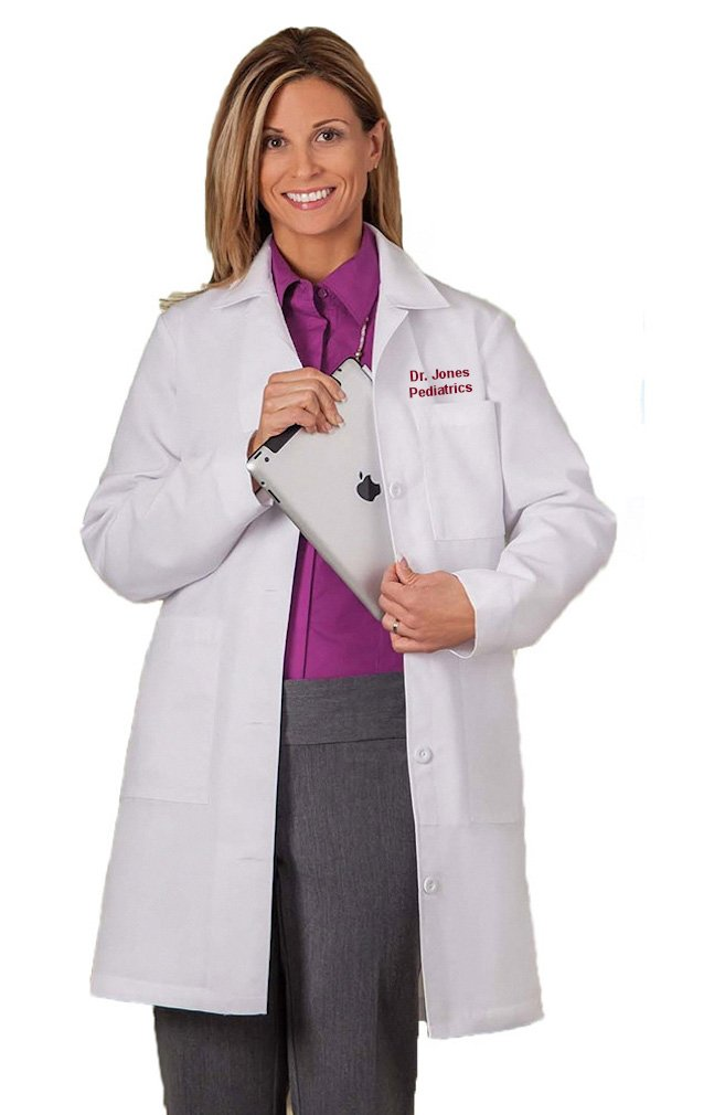 White Swan Embroidered Meta Labwear by Women's Pleated-Back 37'' Lab Coat (Style 1964) (12T)